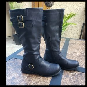 Knee High Black Buckled Boots with 1 inch Heel
